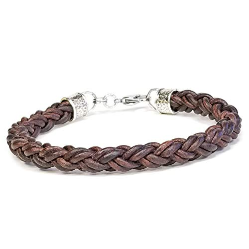 BROWN Braided Leather Rope Bracelet for Men & Women- Lucky Dog Leather- Genuine Leather- All Sizes for a Great Fit 7