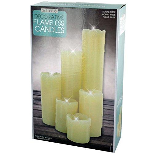 bulk buys OS329 Decorative Flameless Pillar Candles Set Kole Imports