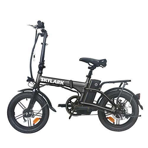 """TrekPower Folding Electric Bike 250W Lightweight Aluminum Elecctric Bicycle 16"""" 36V10A Lithium Battery Ebike with Pedals,Power Assist, 20 Miles Range E-Bike with Dual Disc Brake (Black)"""