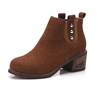 RTRY Women'S Shoes Real Leather Fall Winter Fashion Boots Boots Chunky Heel Round Toe Booties/Ankle Boots Rivet For Casual Party &Amp; Evening US6.5-7 / EU37 / UK4.5-5 / CN37 IYDAyDups7