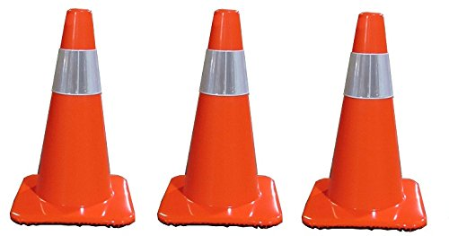 Work Area Protection 18PVCS Polyvinyl Chloride Standard Traffic Cone with 4'' VSB Reflective Collar, 7-1/4'' Diameter x 18'' Height, Fluorescent Orange (3-PACK)
