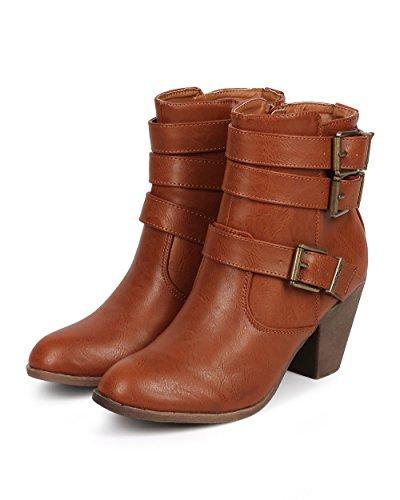 Bootie Zip Riding Almond DK87 Strappy DbDk Tan Toe Women Leatherette Leatherette wt0f8Yxn7q