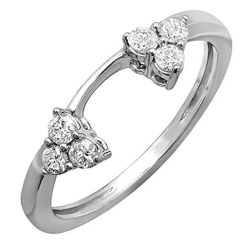 Dazzlingrock Collection 0.30 Carat (ctw) 14K Round Diamond Ladies Anniversary Wedding Ring Matching Guard Band 1/3 CT, White Gold, Size 6