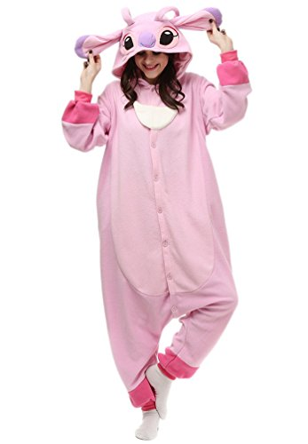 [Dalary Adult's Christmas Unisex Adults Kigurumi Onesie Partywear Costumes (Small,Pink Stitch)] (Stitch Costumes Adults)