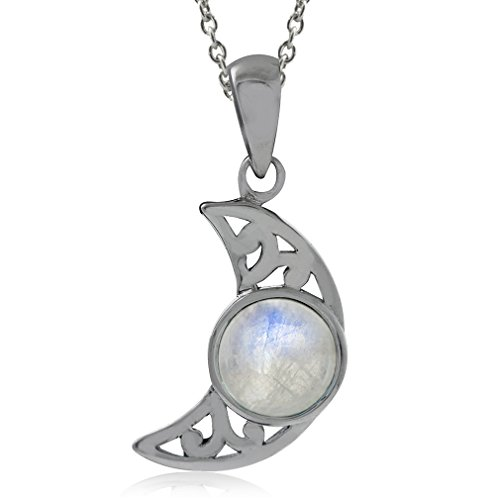 Natural Moonstone 925 Sterling Silver Filigree Crescent Moon Pendant w/18 Inch Chain Necklace (Moonstone Filigree)