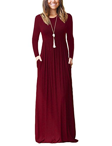 BALEMSWomen's Long Sleeve Pockets Pleated Loose Swing Casual Maxi Dress,Wine Red,X-Large,Tag Size: XL (Maternity Petite Coat)
