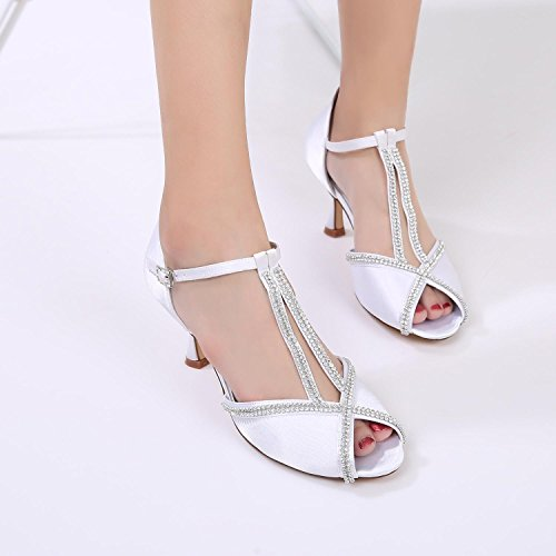 Peep L Toe Buckle YC E17061 Women's Stitching 11 Wedding Diamond Bridal Shoes Red Lace Summer Prom BTqSBw