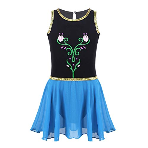 iEFiEL Girls Elegant Snowflake Princess School Ballet Dance Wear Party Dress Halloween Costumes Floral Black 7-8 ()