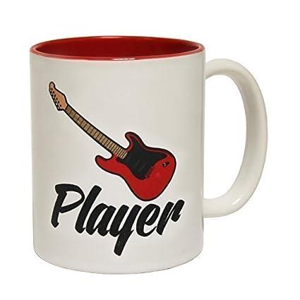 123t reproductor de tazas de cerámica para guitarra eléctrica y taza con texto en inglés rojo