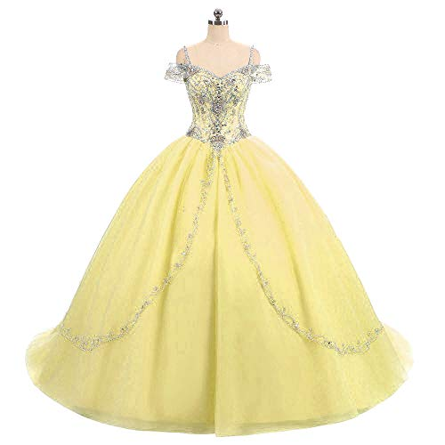 DKBridal Women's Cap Sleeves Crystals Ball Gowns Tulle Long Quinceanera Dresses Yellow 2 ()