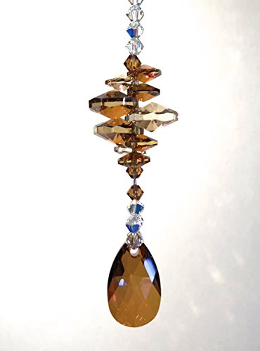 Swarovski Crystals, Copper Sun Catcher; Gold Suncatcher, Window Ornament, Aurora Borealis, Car Accessories, Garden Decor, Glass Art, 9022