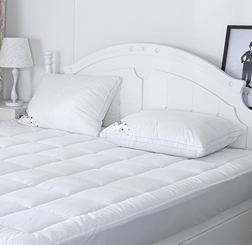 Top Pillow Cover (Queen Size Mattress Pad Quilted Plush Hypoallergenic Down Alternative Pillow Top Mattress Cover with Deep Pocket)