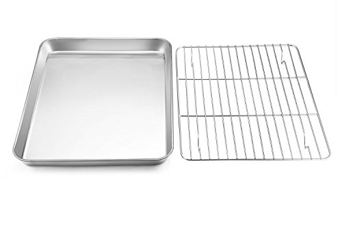 Toaster Oven Tray with Rack Set, E-Far Pure Stainless Steel Small Baking Pan Cookie Sheet with Cooling Rack, 10.5 x 8 x 1 inch Rimmed Rectangle Size, Non Toxic & Rust Free - Dishwasher Safe