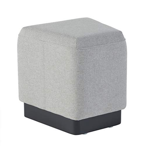 Sunon Pouf Ottoman Stool 16.5L x 15.7W x 16.9H inch Small Ottoman Foot Rest with Padded Cushion and Trapezoid Shape Wooden Base for Multi-Combination (Light Grey)