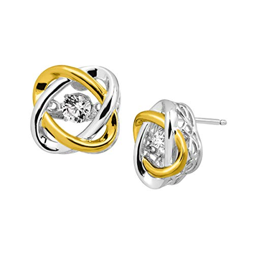 3/8 ct Created White Sapphire Floater Stud Earrings in Sterling Silver & 14K Gold Plate