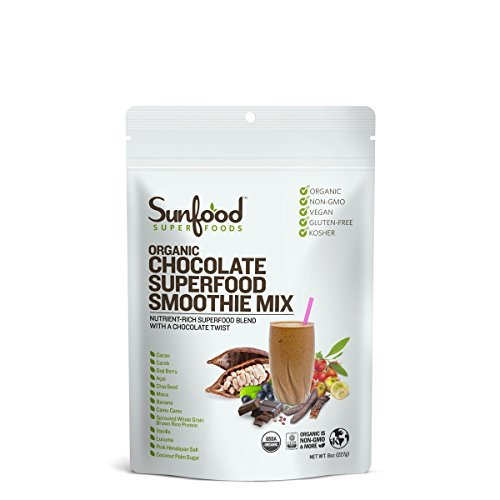 (Sunfood Superfood Organic Chocolate Superfood Smoothie Mix. Plant-Based Protein, 13 Powerful Superfoods & Adaptogen Blend with Cacao. 8 oz Bag)