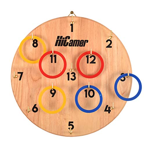 Fun Family Ring Toss Game Indoor and Outdoor Hook for Kids and Adults - Safe Darts Includes 11.8 Inch Hard Wood Board, 13 Metal Hooks and 12 Rubber Rings from HiCamer