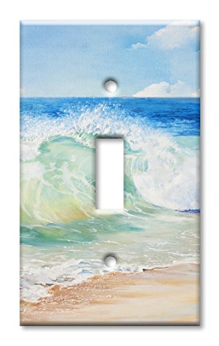 Design Single Outlet Switchplate Cover - Art Plates Brand Single Toggle Switch/Wall Plate - Beach Painting