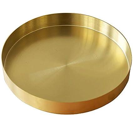 Bandejas Metal Doradas Decorativa para Platos Organizador Redondo de Acero Inoxidable para Joyas y Maquillaje Cosméticos 22 cm