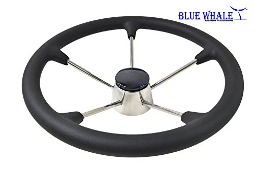 "Price comparison product image Blue Whale 13-1 / 2"" Stainless Steel 5 Spoke Destroyer Steering Wheel w / Black Foam Grip"