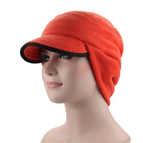 Leories Winter Windproof Cap Outdoor Warm Fleece Earflap Hat with Visor Orange