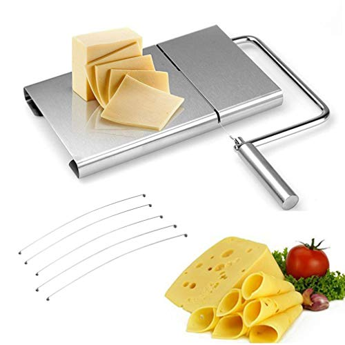 WAYDA Cheese Slicer, Stainless Steel Cheese Cutter with Durable Wire Cutting Board, Kitchen Cheese Butter Food Slicer with 5 Replaceable Wires