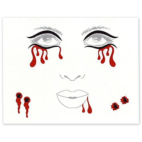 Fancy Face Paint Color Halloween Vampire Face Tattoo Decals]()