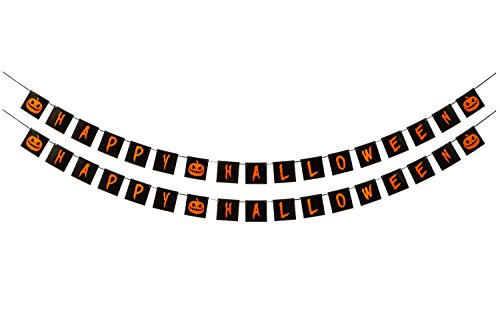 Halloween Decorations - Happy Halloween Banner - 2 Pack - Pumpkin Design - Orange and Black - Festive Decor For Home, School, Or Office (Neat Halloween Party Ideas)