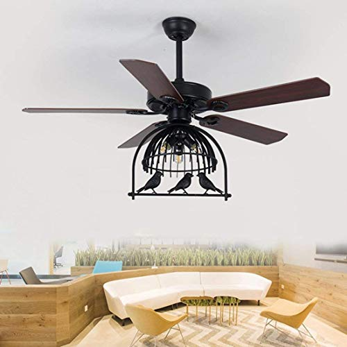 Industrial Fan Ceiling Light Pendent Lamp with Birdcage Shade Through Remote Control, Household