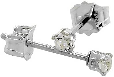 Tiny Cubic Zirconia Earrings Studs 2 mm Cartilage Nose 4 prong 0.06 ct/pr in Sterling Silver & 14k Gold
