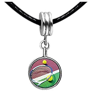 Chicforest Silver Plated Olympics tennis balls and racket Photo Red Zircon Crystal July Birthstone Flower dangle Charm Beads Fits Pandora Charm