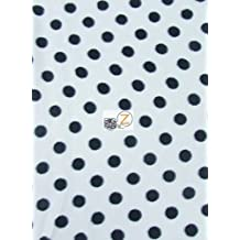 POLKA DOT PRINT FLEECE FABRIC BY THE YARD BABY WARM BLANKET DECOR (White/Black Dots)