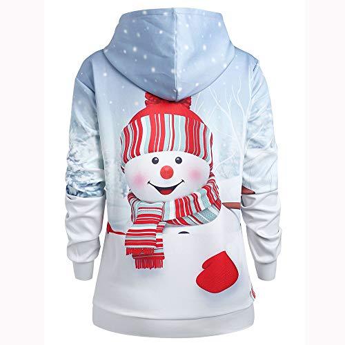 Neve Bianco Canguro Di Donne Maglietta Felpa Camicetta Con Pullover Primavera Stampa Tasca Pupazzo Cappuccio Natale Cartoon Kword n7HxRF