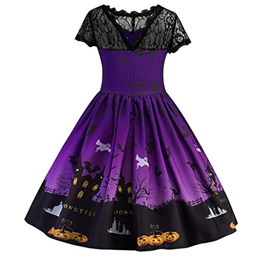 Hot 97 Halloween Party (WUAI Toddler Girls Halloween Costumes Ghost Pumpkin Witch Princess Party Dresses Kids Pleated Swing Dress(Purple,7-8)