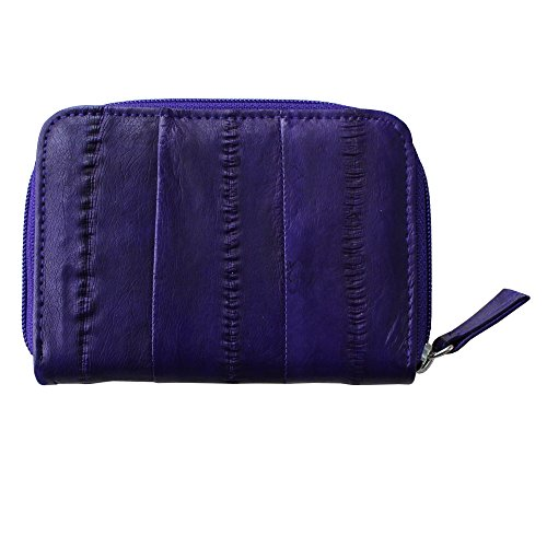 Rainbow Women's Genuine Eel Skin Leather Zip Around Credit Card Wallet (Dark purple)