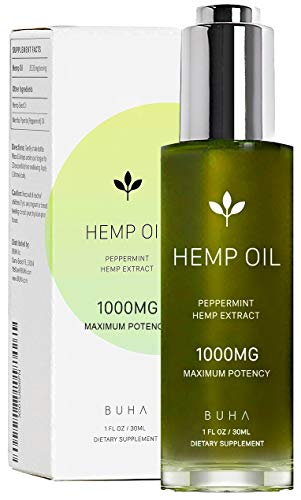 Hemp Oil for Pain & Anxiety Relief - 1000mg - Natural Anti Inflammatory & Joint Support. Improves Sleep Quality & Mood. Grown &