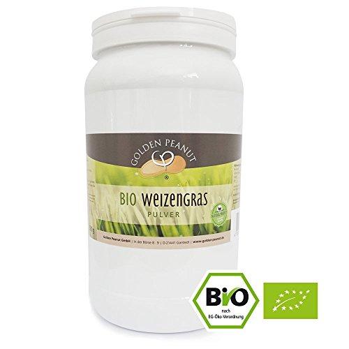 Golden Peanut Bio Weizengras Pulver 500 g Dose, in Deutschland geprüfte Qualität, DE-ÖKO-003