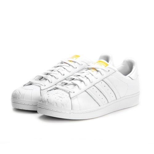 adidas Herren Superstar Pharrell S Sneaker - FTWWHT / FTWWHT / Yellow