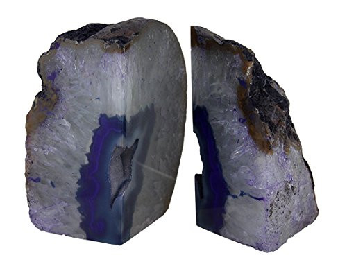 Large Polished Purple Brazilian Agate Geode Bookends 7-11 Pounds (Mineral Real Rocks)
