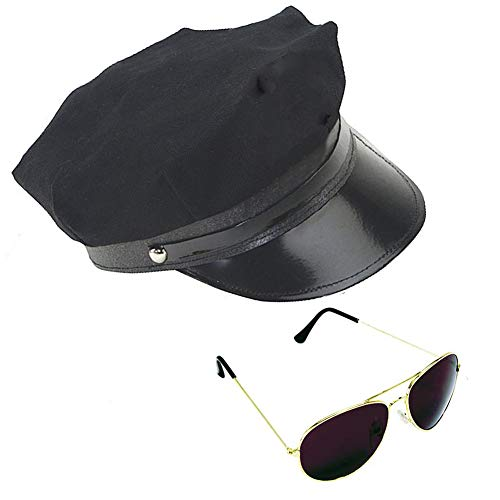 Costume Set Black Chauffeur Hat & Gold Tone Aviator Sunglasses