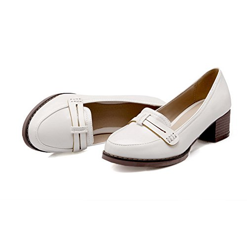 Balamasa Ladies Slip-on Kitten-heels Zapatos De Cuero Sólido Aceitado-zapatos Blanco