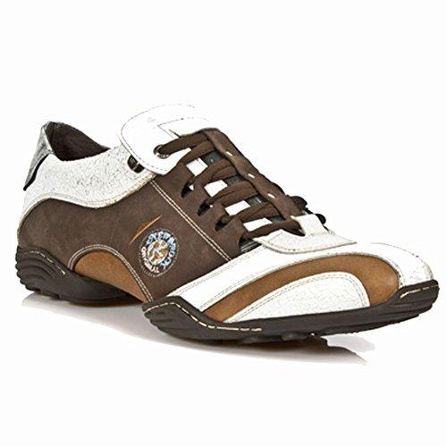 New Rock - Zapatillas de deporte de cuero para mujer marrón marrón