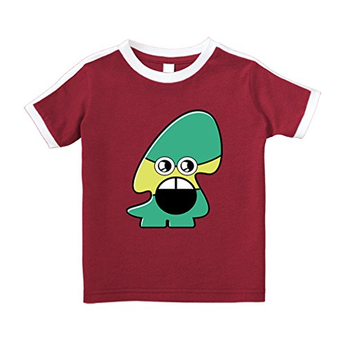 Cute Rascals Monster With Open Mouth Cartoon Cotton Short Sleeve Crewneck Unisex Toddler T-Shirt Soccer Tee - Red, 3T
