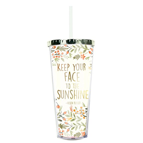 Keep Your Face in the Sunshine Helen Keller Berries 24 Ounce Straw Tumbler with Goldtone - Packaging Keller