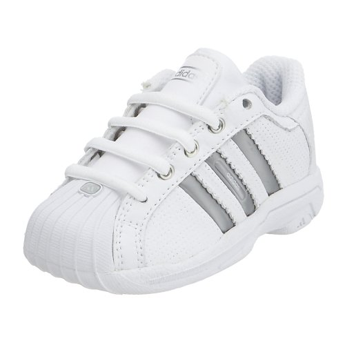 adidas Infant/Toddler Superstar 2G Ultra 1 Basketball,  White/Silver/Aluminum,