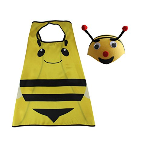 DREAMOWL Kids 70cm Ladybug Animal Bee Hat Cape Set, Halloween Costume for Child (Ladybug Cape Costumes)