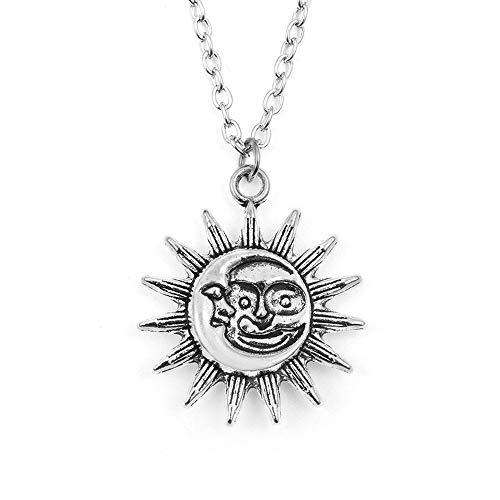 RUIZHEN Antique Gold Silver Happy Sun Face with Cresent Moon Pendant Necklace (Antique ()