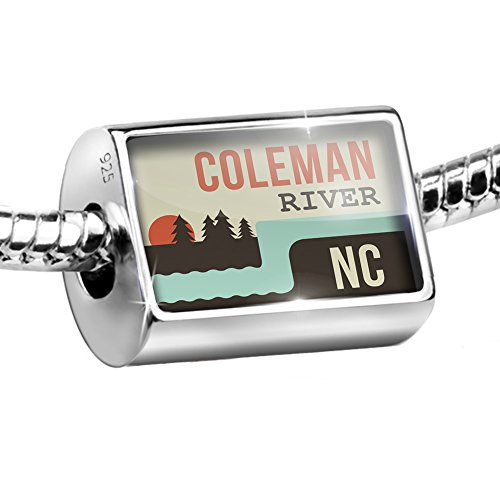 Coleman Sterling Silver Bracelet (Sterling Silver Bead USA Rivers Coleman River - North Carolina Charm Fits All European Bracelets)