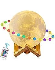 Lampada Luna, 16Colori, 12cm, Stampa 3D LED Moon Light, telecomando, regolatore senza interruzioni, RGB, lampada con supporto in legno.