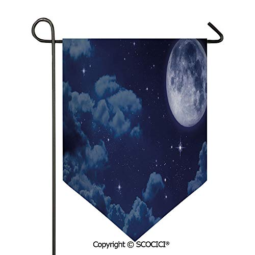 Easy Clean Durable Charming 12x18.5in Garden Flag Cartoon Anime Scene Inspired Full Moon Lunar Clouds and Stars Artwork Decorative,Dark Blue and White Double Sided Printed,Flag pole NOT included